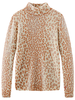 Cashmere Leopard Print Long Sleeve Turtleneck