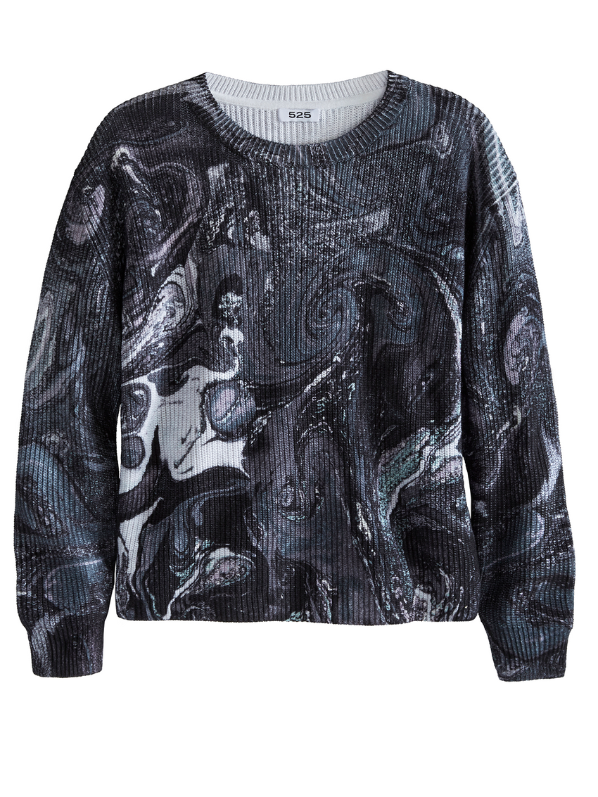 Printed Crewneck Long Sleeve Top