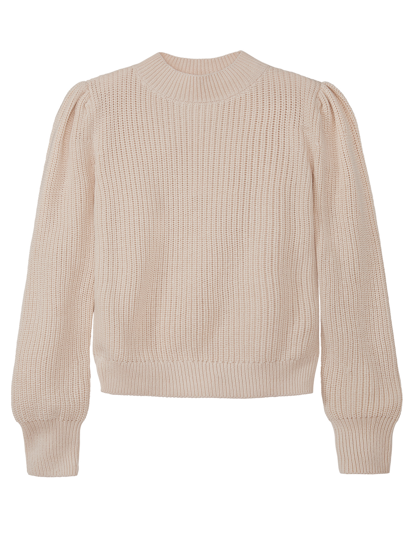 Shaker Puff Sleeve Crewneck Sweater