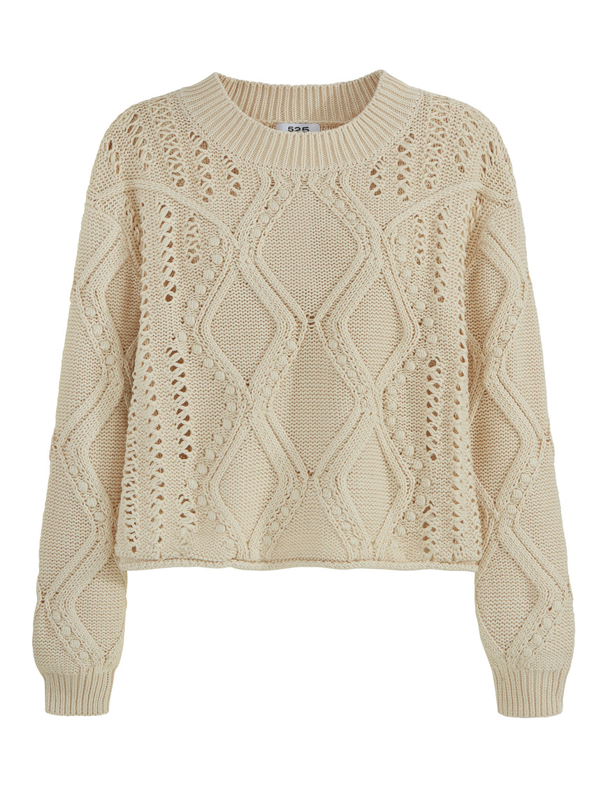 Mixed Bobble Stitch Long Sleeve Sweater