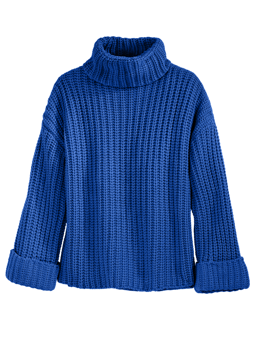 Ribbed Wide Sleeve Turtleneck Sweater