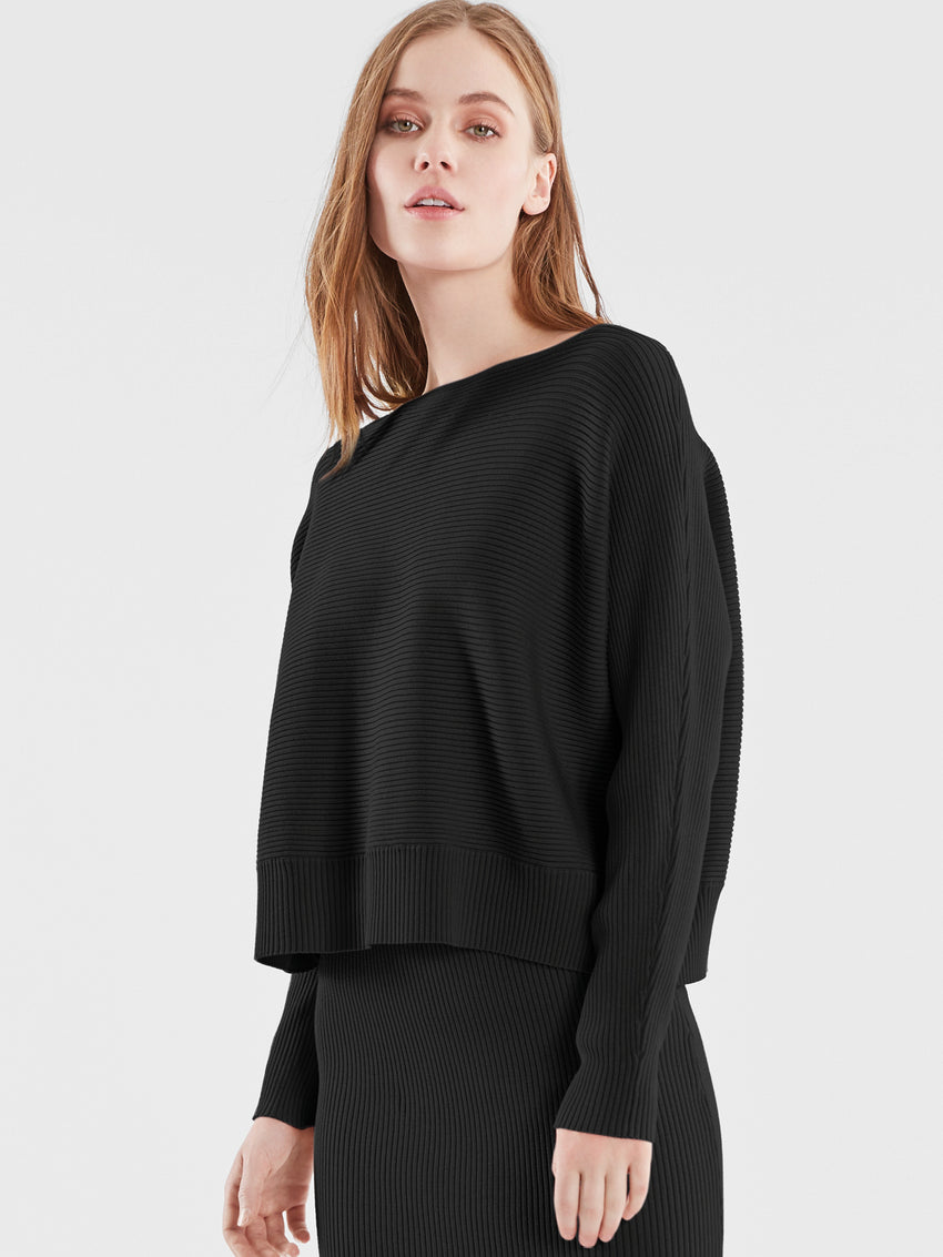 Ribbed Knit Dolman Sleeve Top