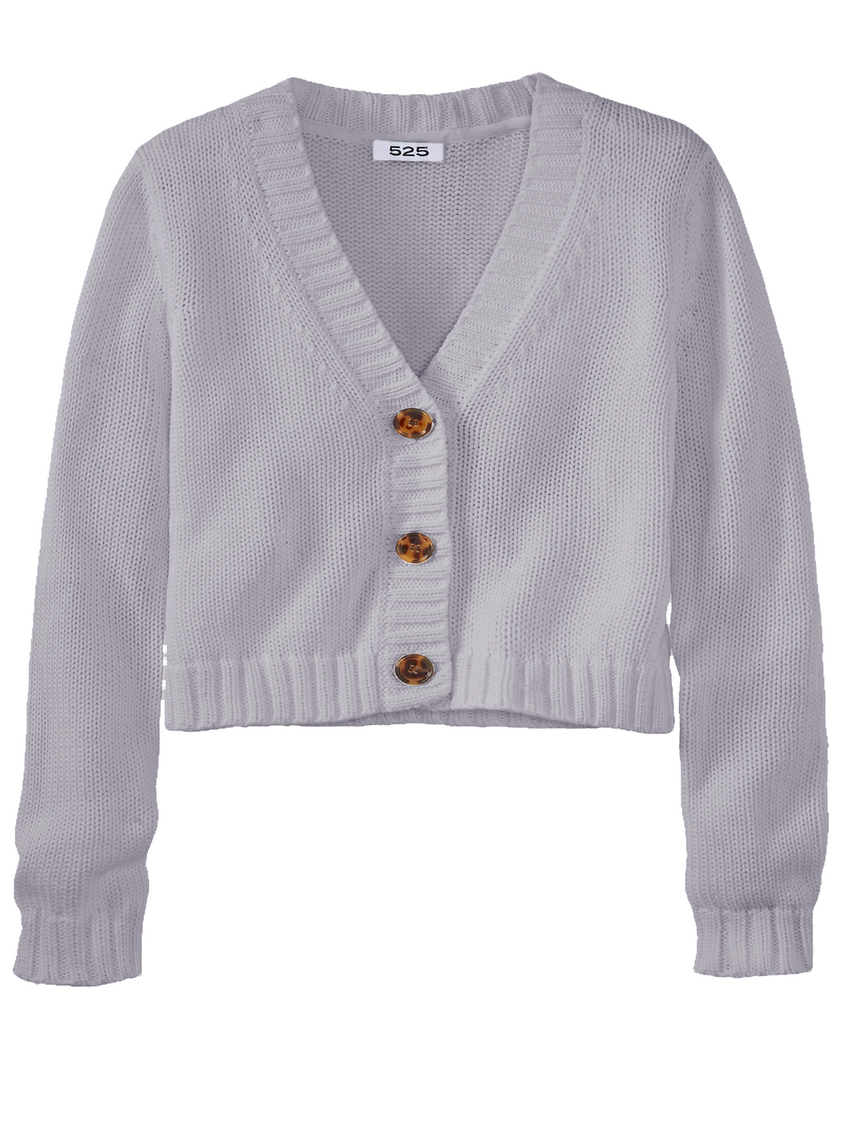 Cotton Shaker Cropped V-Neck Cardigan
