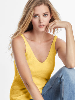 Cotton Shaker Knit V-neck Tank