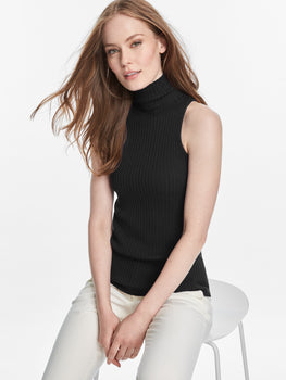 Wide Ribbed Knit Mock Neck Tank