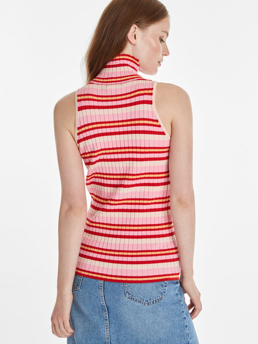 Wide Rib Knit Striped Mock Neck Tank
