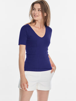 Wide Ribbed Knit V-neck Short Sleeve Top