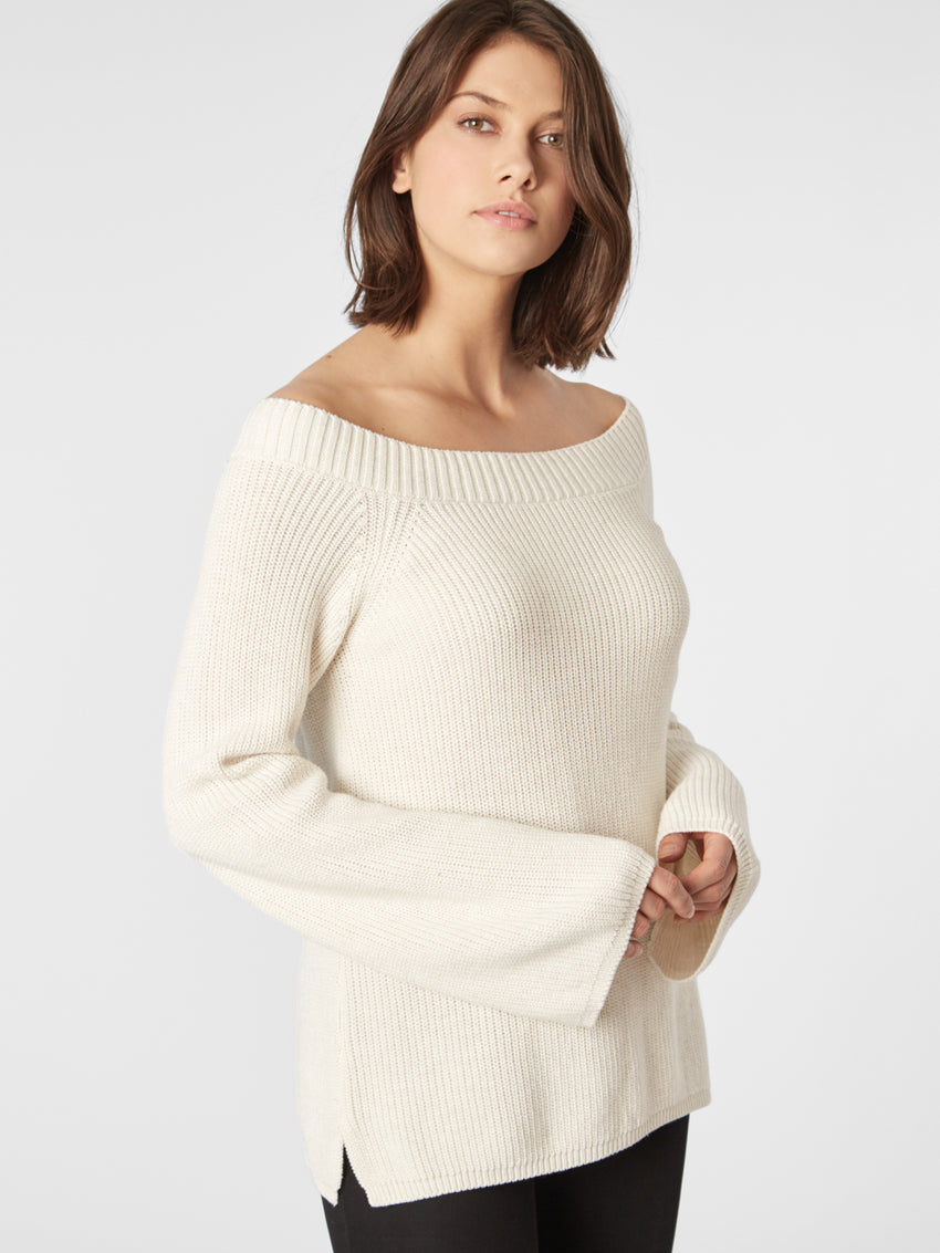 Cotton Shaker Off The Shoulder Sweater
