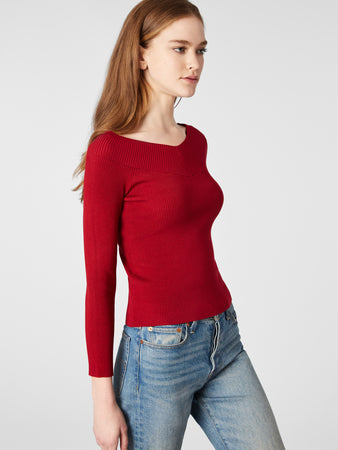 Ribbed Bracelet Sleeve Double-V Top