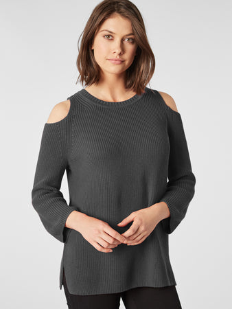 Cotton Shaker Cold Shoulder Sweater