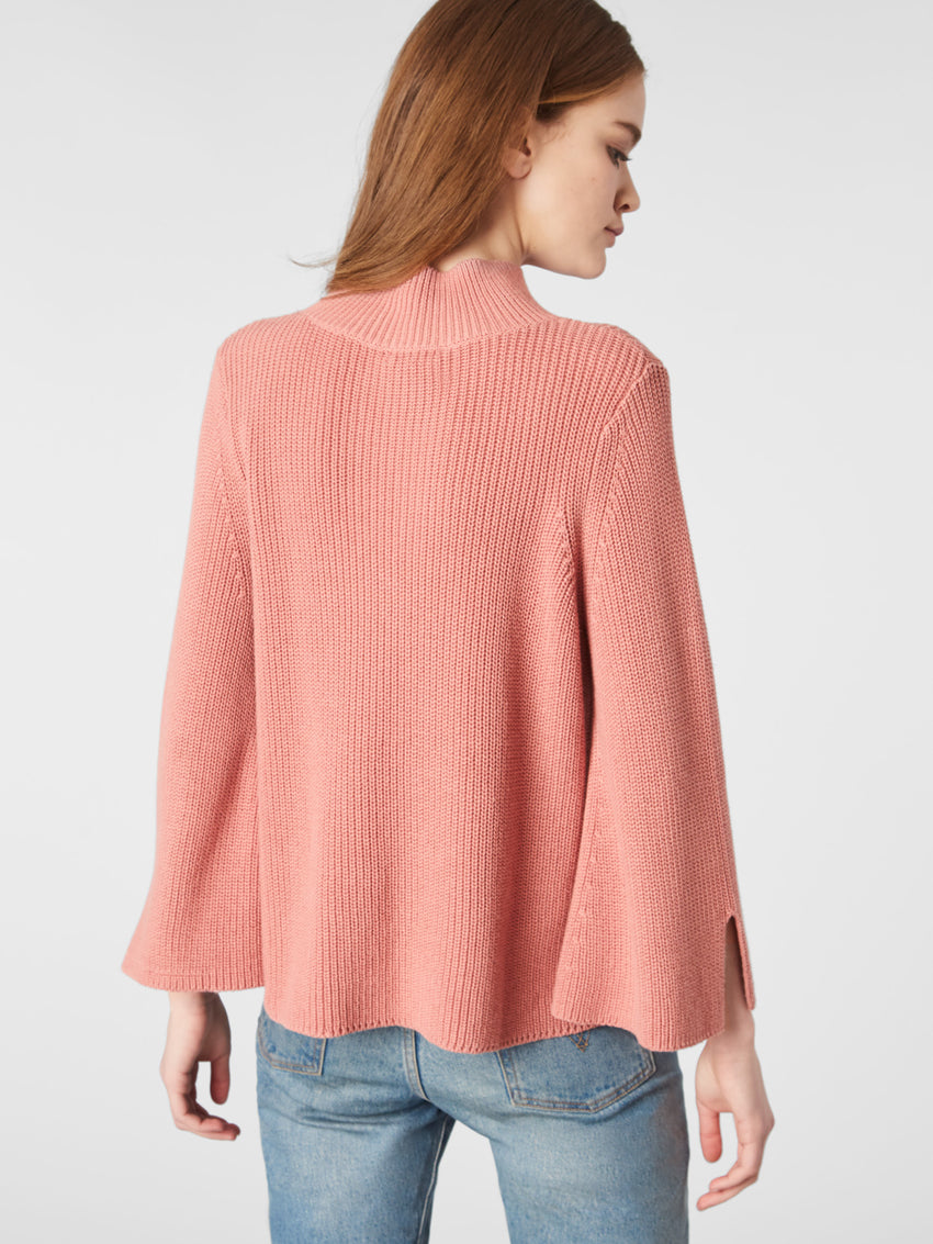 Cotton Shaker Mock Neck Slit Sleeve Sweater
