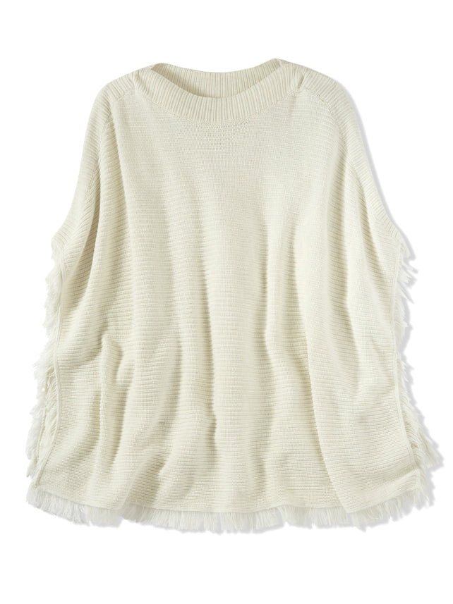 Fringe Cotton Shaker Knit Poncho