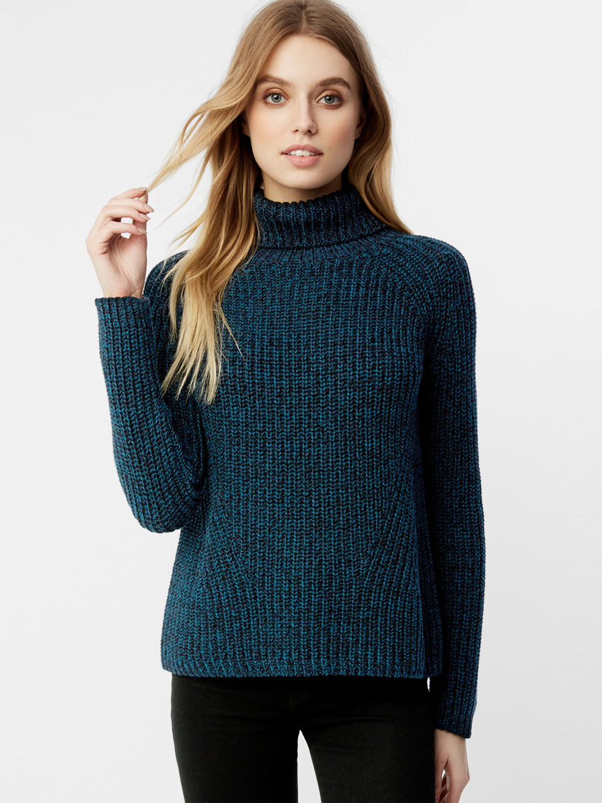 Cotton Shaker Twisted Yarn Turtleneck