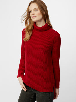 Cotton Shaker Hi Low Turtleneck Sweater