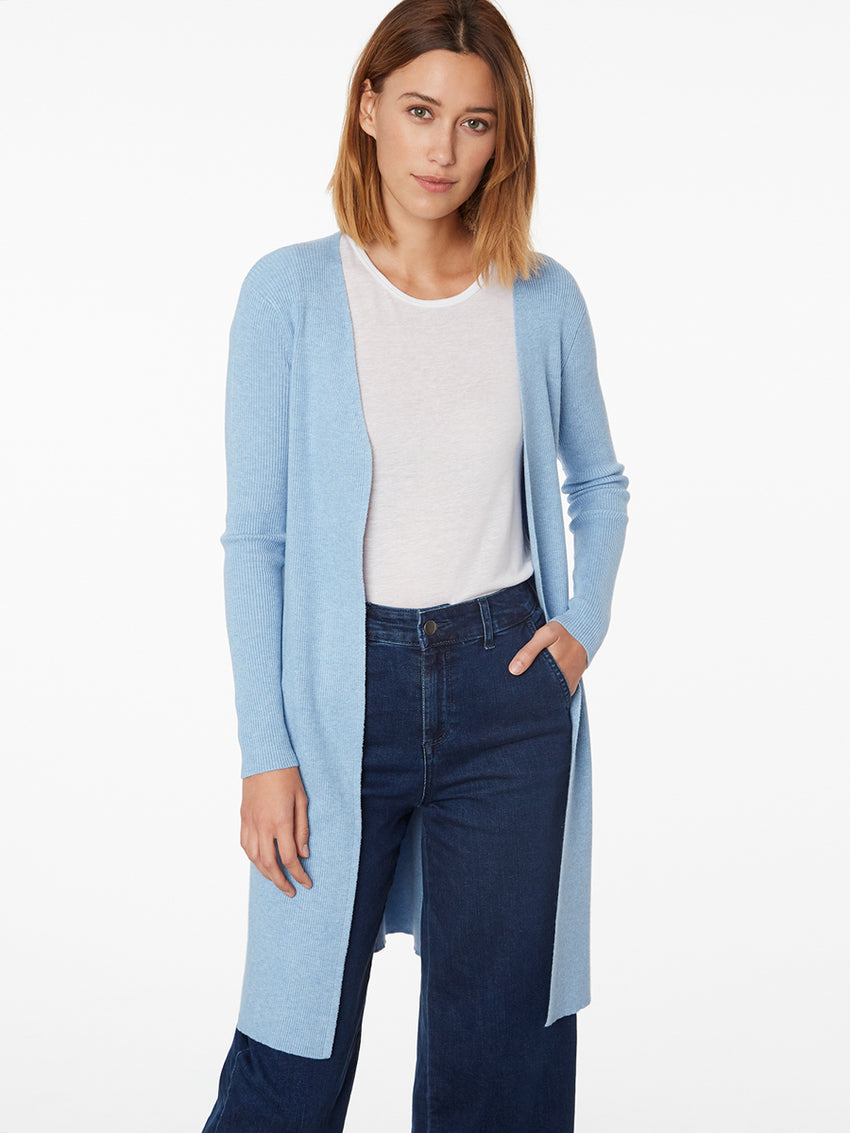 Ribbed Open Front Duster Cardigan