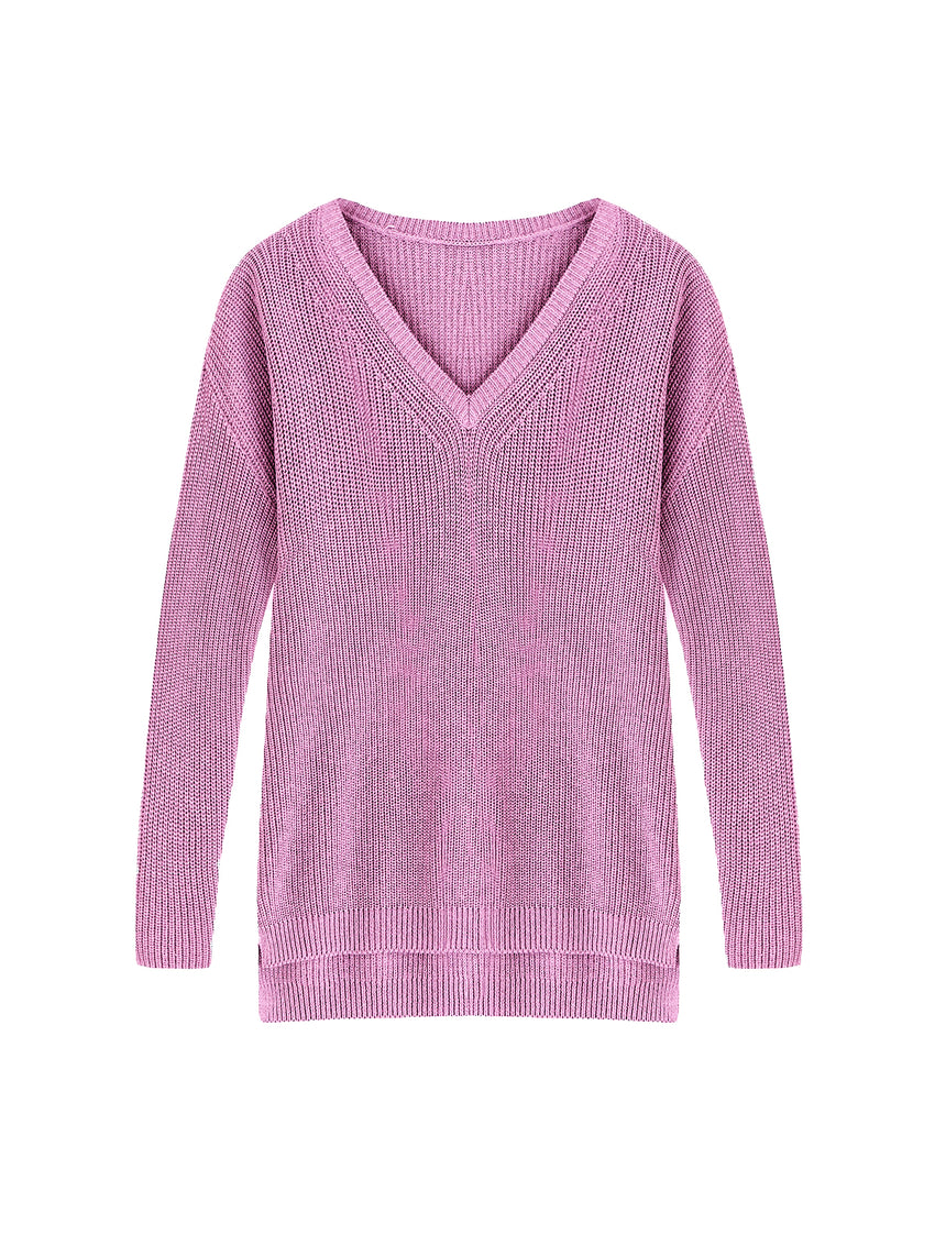 Emma Cotton Shaker Boyfriend V-Neck Sweater