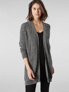 Cotton Shaker Knit Open Front Duster Cardigan