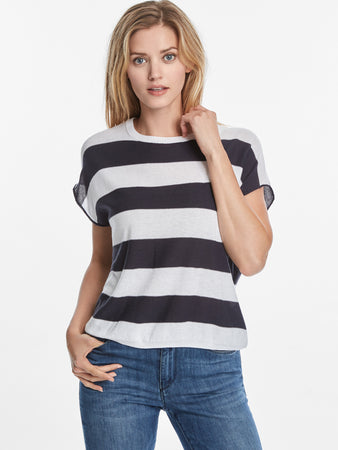 Cotton Blend Rugby Stripe Cap Sleeve Sweater Top
