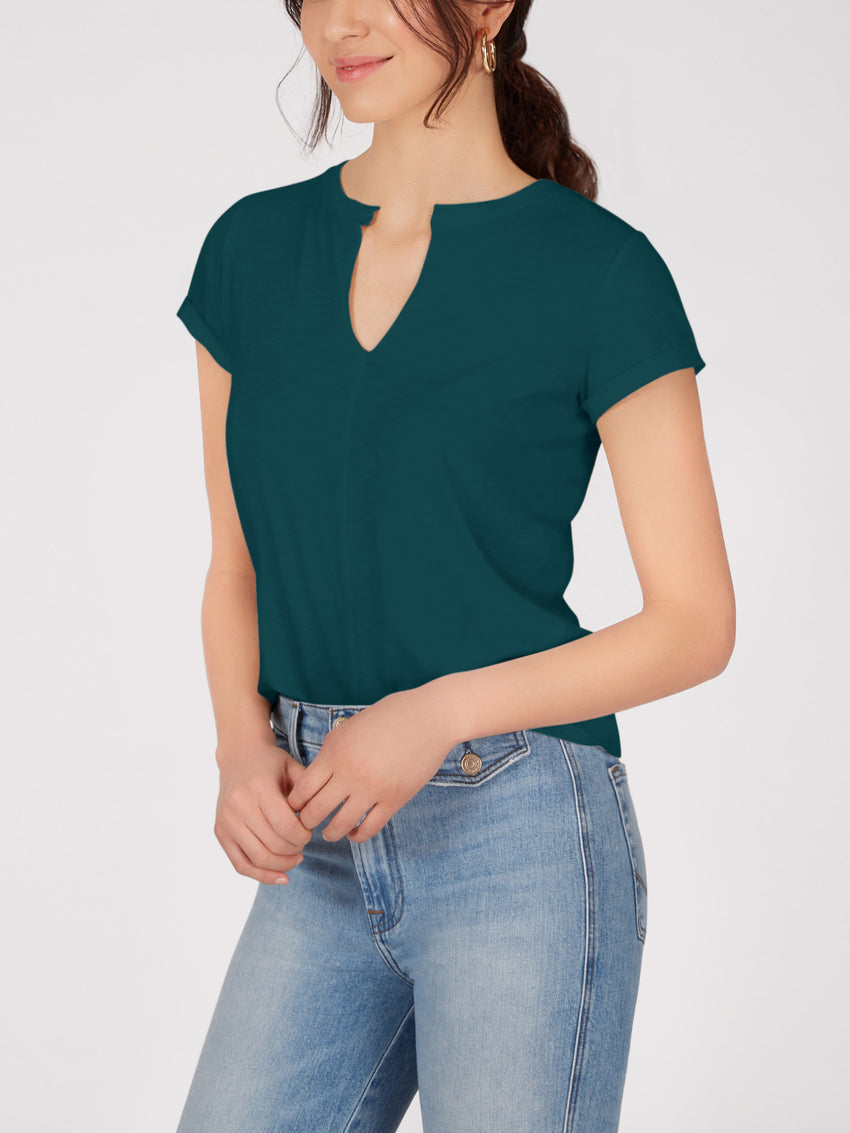 Cotton Short Sleeve Slub Top
