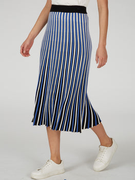 Accordion Pleat Two-Tone Maxi Skirt