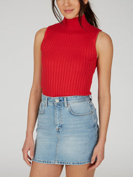 Ribbed Knit Mock Neck Sleeveless Top