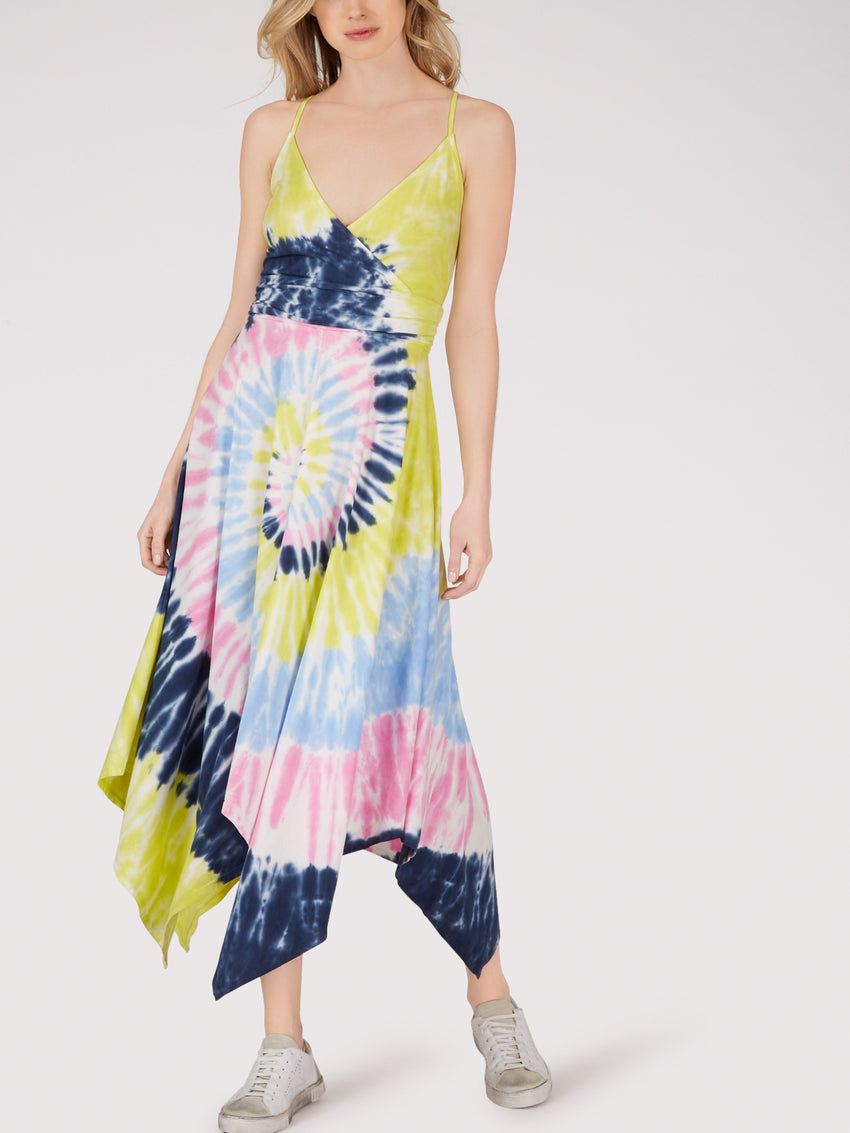 Cotton Tie Dye Handkerchief Hem Dress