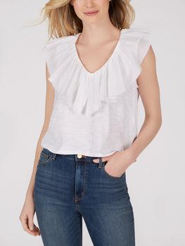 Cotton Slub Knit Ruffle V-Neck Top
