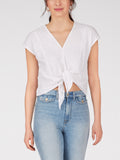 Cotton Slub Knit Tie Waist Top