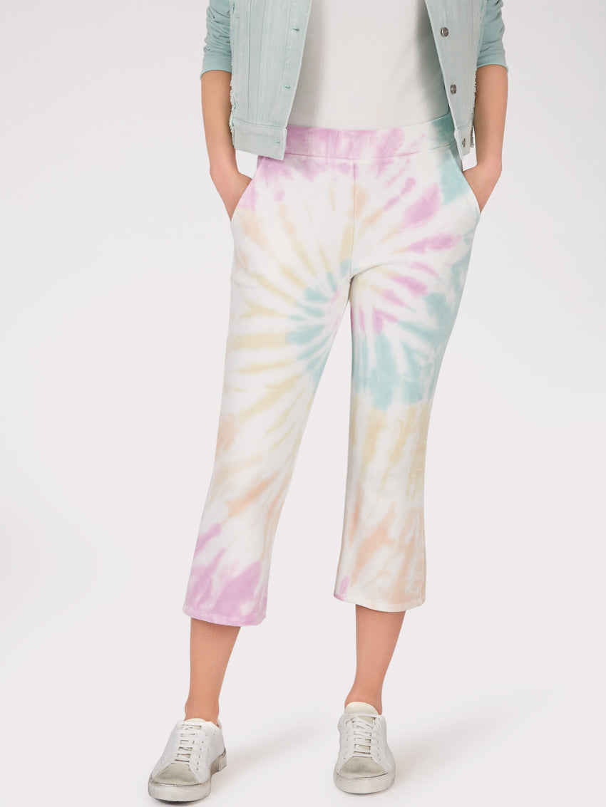 Cotton Tie Dye Cropped Flare Sweatpants