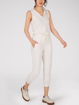 Open V-Neck French Terry Jumpsuit