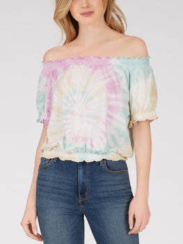 Cotton Tie Dye Smocked Top