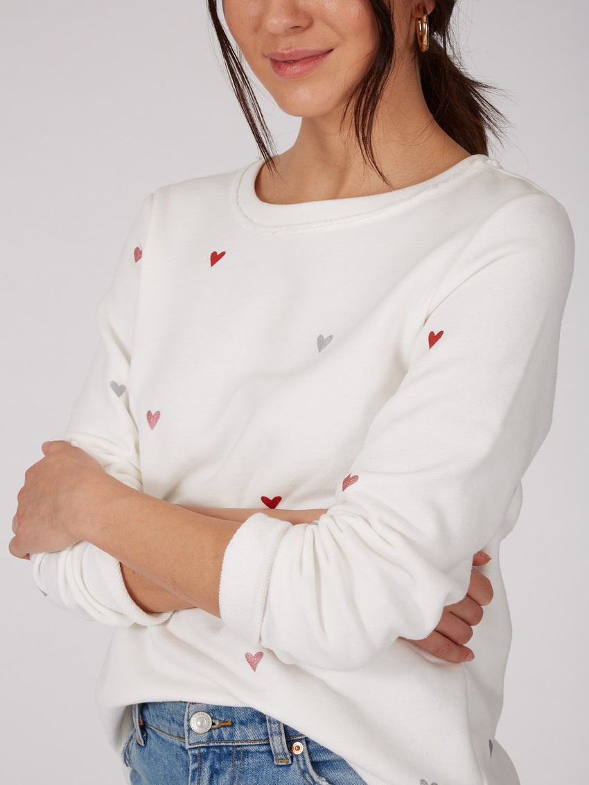 Cotton French Terry Foil Heart Sweatshirt