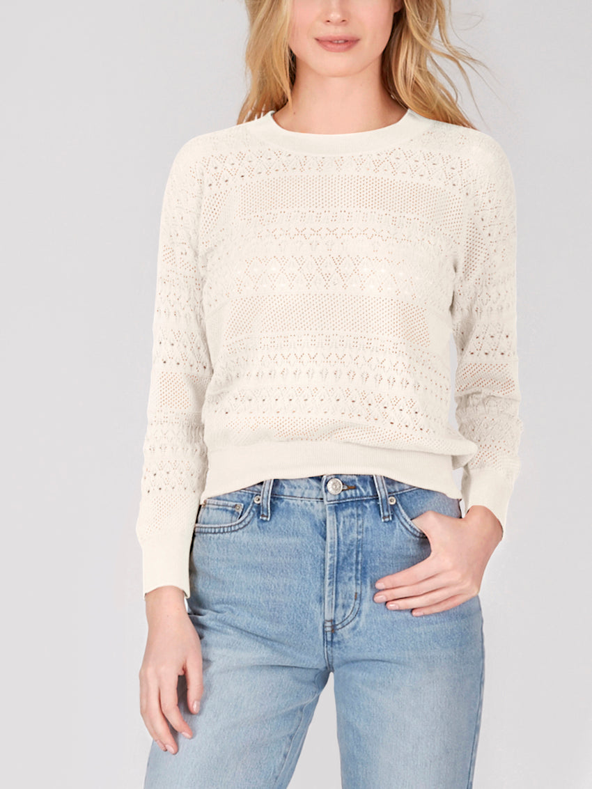Cotton Pointelle Crewneck Sweater