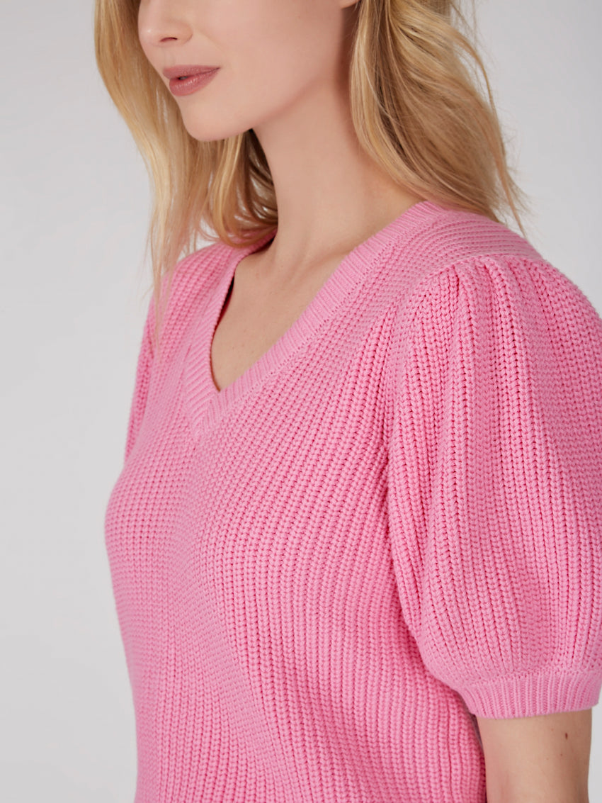 Cotton Shaker Puff Sleeve Sweater