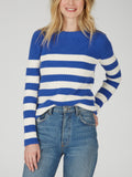 Cotton Shaker Sailor Striped Epaulet Sweater