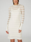 Cotton Sheer Stripe Knit Dress