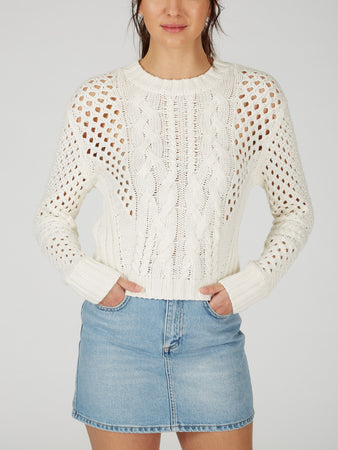 Cotton Cable Pointelle Mixed Stitch Sweater
