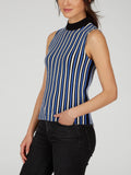 Striped Pleat Knit Tank