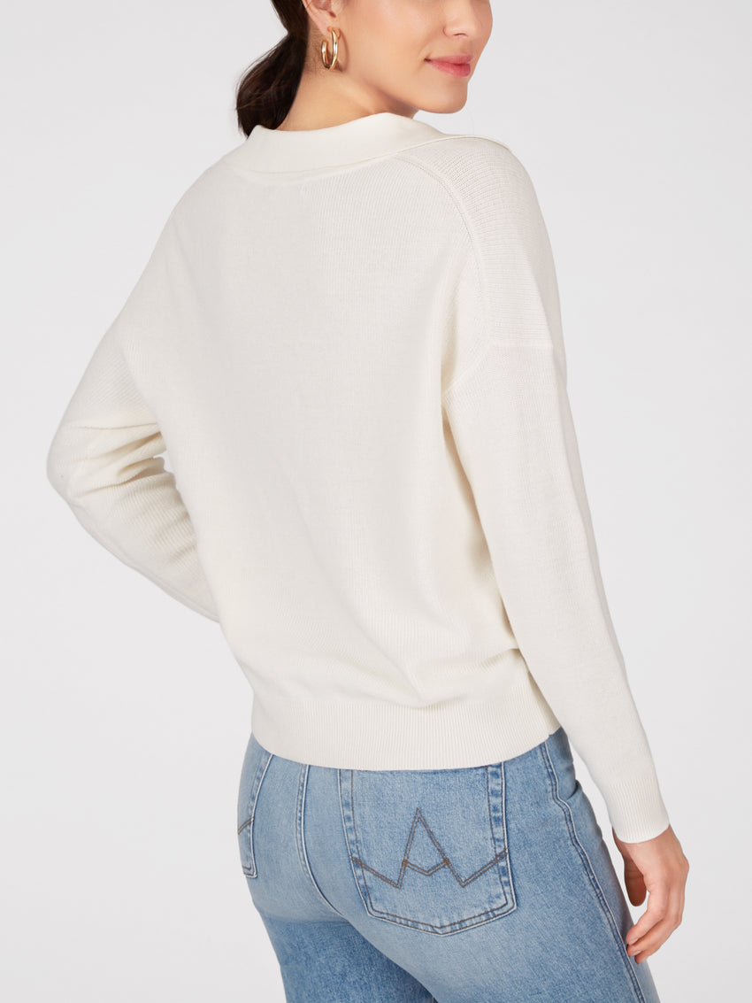 Cotton Collared V-Neck Sweater