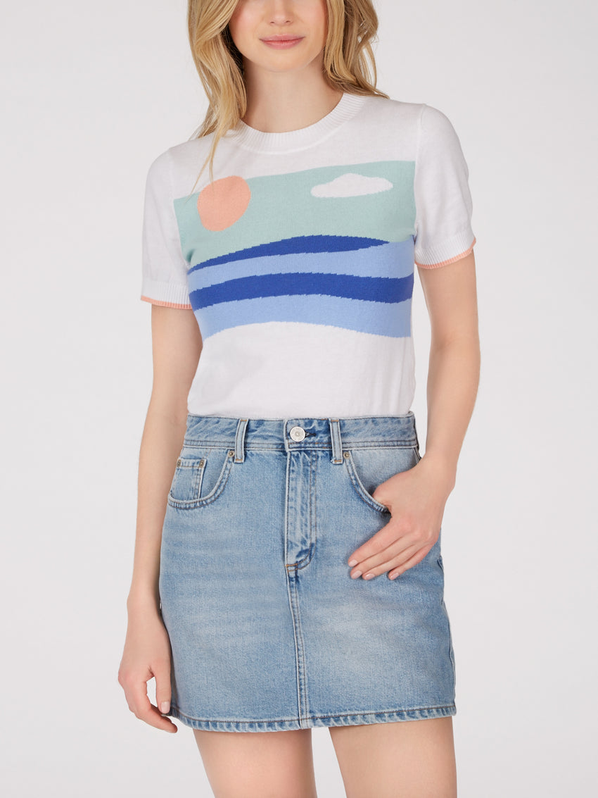 Sunset Short Sleeve Knit Top