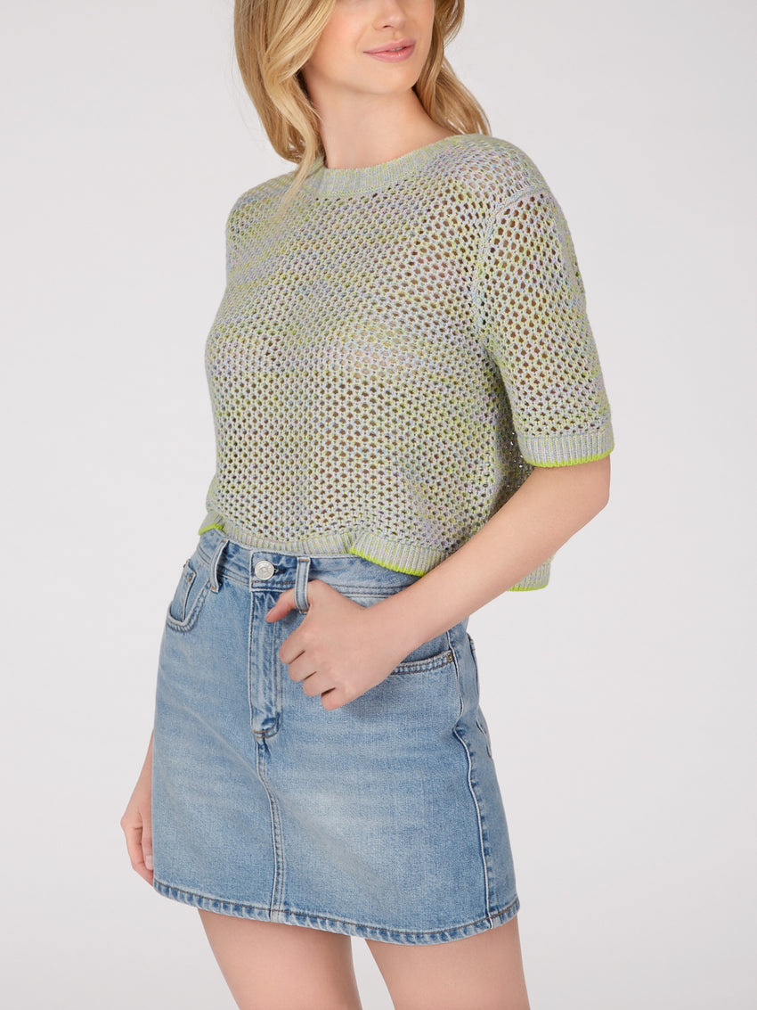 Cotton Mesh Short Sleeve Cropped Sweater