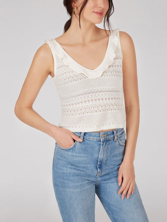 Cotton Pointelle Cropped Ruffle Tank