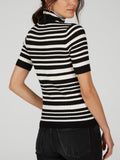 Wide Rib Striped Turtleneck Top