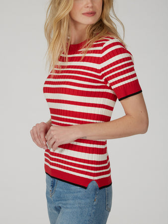 Wide Ribbed Striped Poor Boy Tee