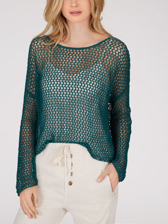 Cotton Mesh Ballet Neck Sweater