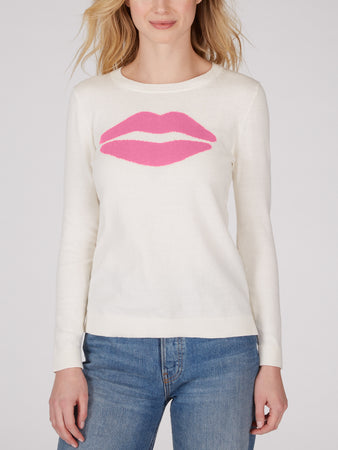 Cotton Jersey Lips Intarsia Sweater