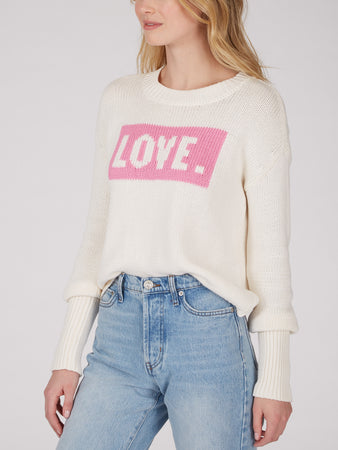 Cotton Jersey Love Intarsia Sweater