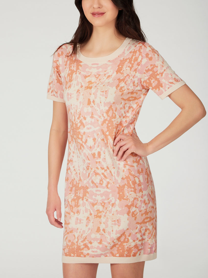 Printed Short Sleeve Stretch Knit T-Shirt Dress