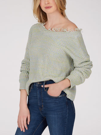 Cotton Shaker Distressed Two-Way Sweater