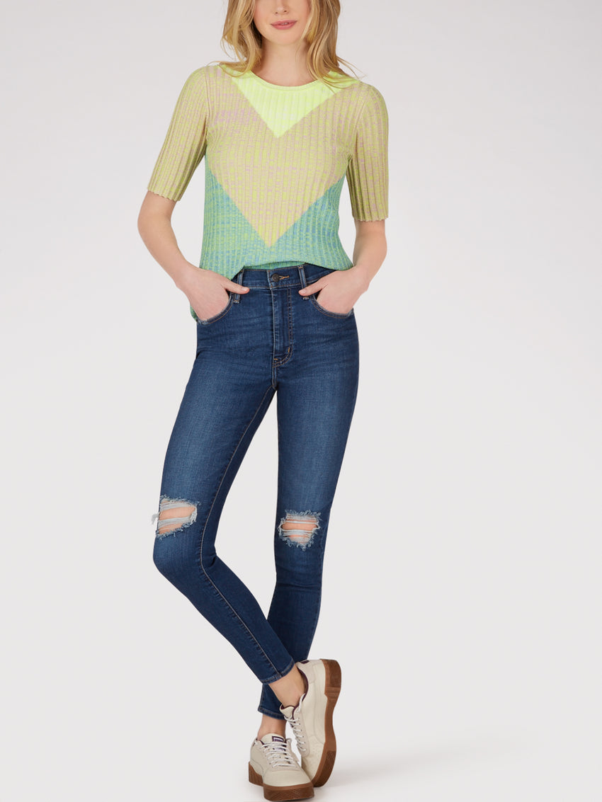 Ribbed Knit Neon Chevron Top